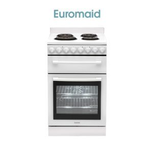 Euromaid F54RW 54cm Upright Stove - Electric Oven & Coil Cooktop-web ready