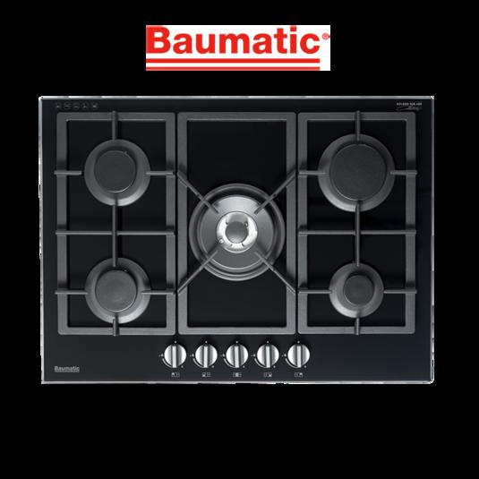 Baumatic BSGH75 Studio Solari 70cm Black Glass Gas Cooktop-web ready