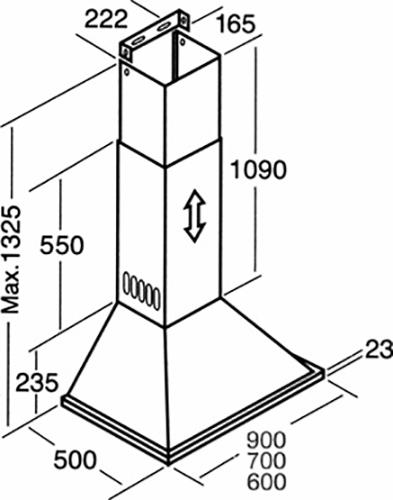 DeLonghi DEBETA90 90cm Canopy Rangehood-schematic