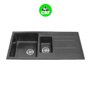CBF S100-50D-B Black Kitchen Sink - 1 and ¼ Bowl with Drainer - 1000 x 500mm