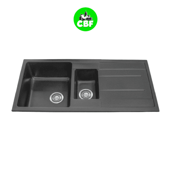 CBF S100-50D-B Black Kitchen Sink – 1 and ¼ Bowl with Drainer – 1000 x 500mm
