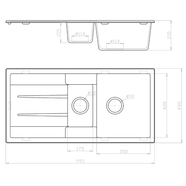 CBF S100-50D-B Black Kitchen Sink – 1 and ¼ Bowl with Drainer – 1000 x 500mm-schematic