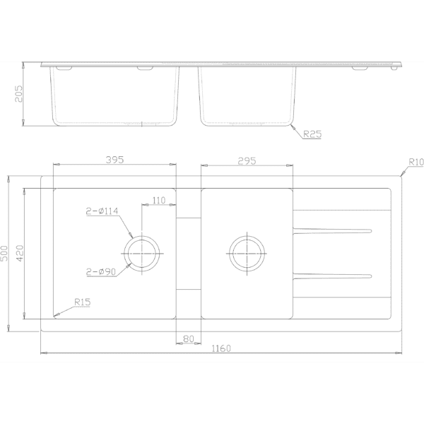 CBF S11650D-B Black Kitchen Sink – 1 and ¾ Bowl with Drainer – 1160 x 500mm-schematic