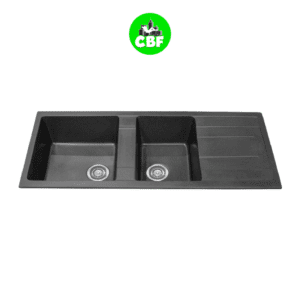 CBF S11650D-B Black Kitchen Sink - 1 and ¾ Bowl with Drainer - 1160 x 500mm -store