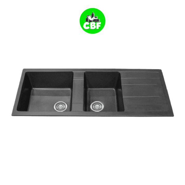 CBF S11650D-B Black Kitchen Sink – 1 and ¾ Bowl with Drainer – 1160 x 500mm -store