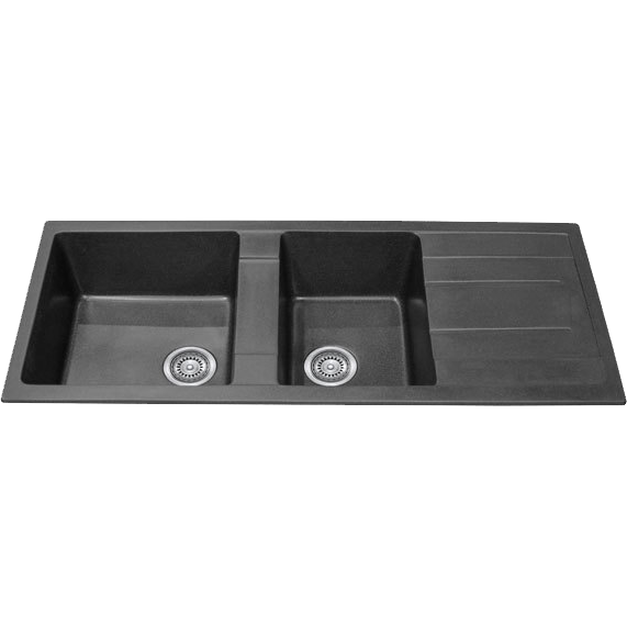 CBF S11650D-B Black Kitchen Sink – 1 and ¾ Bowl with Drainer – 1160 x 500mm
