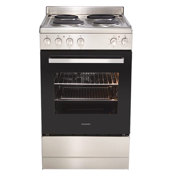 Euromaid EFF54SS 54cm Upright CookerStove – Electric Single Cavity Oven & Solid Cooktop