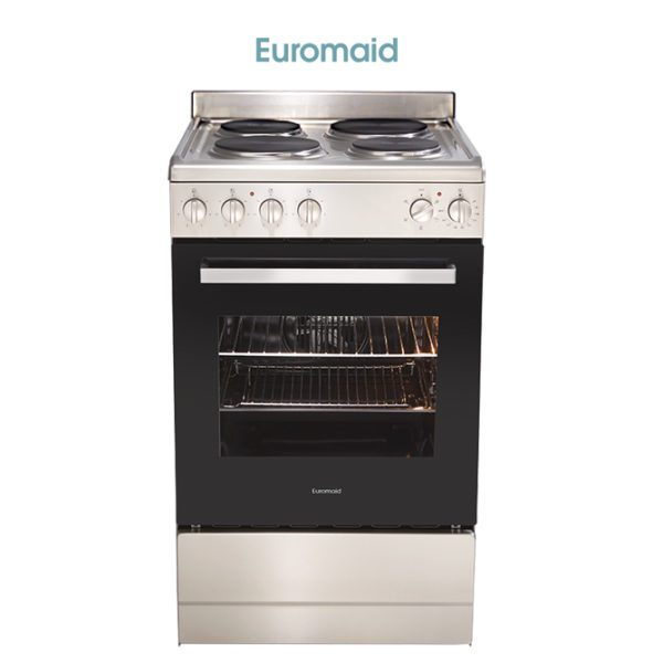 Euromaid EFF54SS 54cm Upright CookerStove – Electric Single Cavity Oven & Solid Cooktop-store