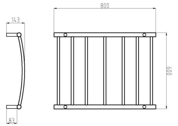 HTR-C6 Heated Round Curved 7 Rung Bathroom Towel Ladder 800mm x 600mm