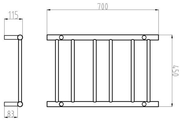 HTR-R4 Heated Round 6 Rung Bathroom Towel Ladder 700mm x 400mm-schematic