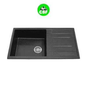 CBF S8650D-B - Black Kitchen Sink - Single Bowl with Drainer - 860 x 500mm