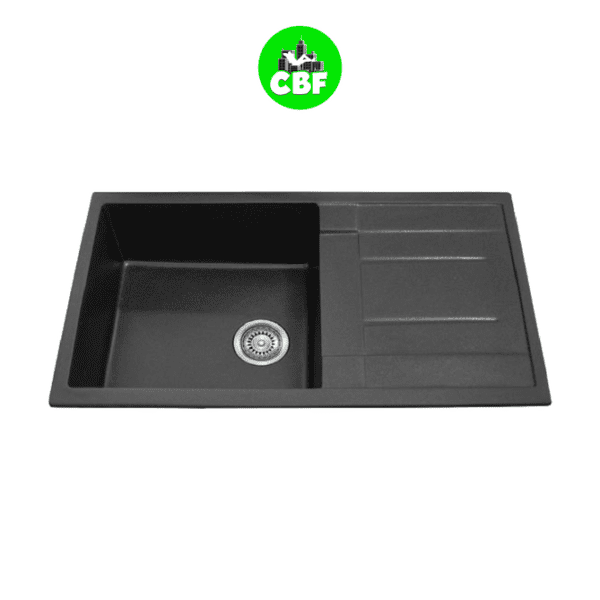 CBF S8650D-B – Black Kitchen Sink – Single Bowl with Drainer – 860 x 500mm