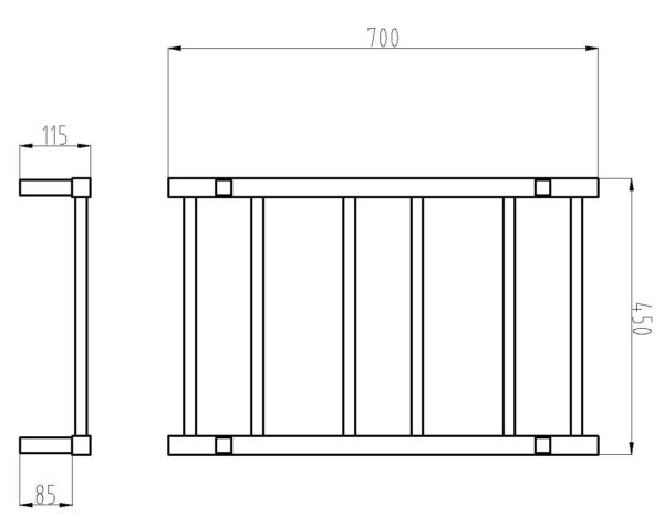 HTR-S4 Heated Square 6 Rung Bathroom Towel Ladder 700mm x 450mm-schematic