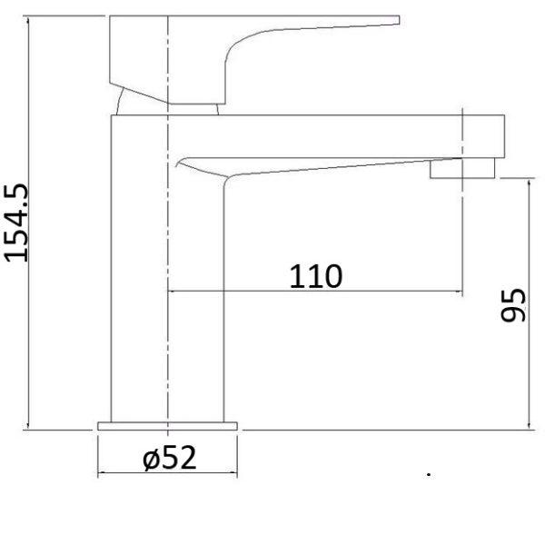 PH2001 Elegancia Cromo Curved Basin MixerTap-schematic
