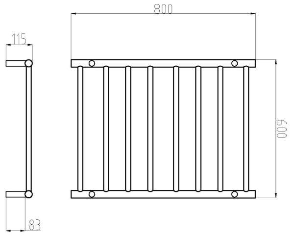 HTR-R6A Heated Round 8 Rung Bathroom Towel Ladder 800mm x 600mm-schematic