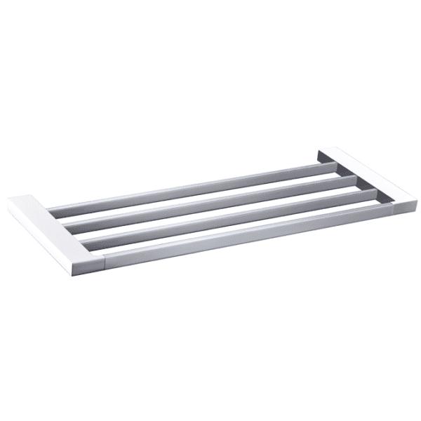 5603-600CW Elegancia Square Bathroom Towel Rack Shelf 600mm Chrome & White