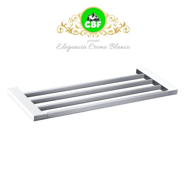 5603-600CW Elegancia Square Bathroom Towel Rack Shelf 600mm Chrome & White-web ready