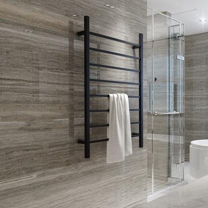 CBFTL1174SBLK Square 8 Rung Bathroom Non Heated Towel Ladder 1150mm x 700mm Matte Black