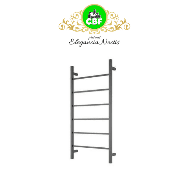 CBFTL94SBLK Square 6 Rung Bathroom Non Heated Towel Ladder 920mm x 460mm Matte Black