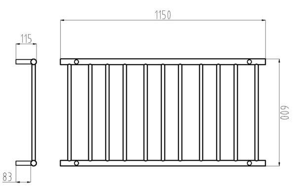 HTR-R6 Heated Round 11 Rung Bathroom Towel Ladder 1150mm x 600mm-schematic