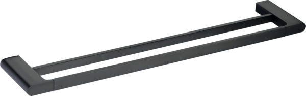 5602-800-B Elegancia Square Bathroom Double Towel Rail Holder 800mm Matte Black