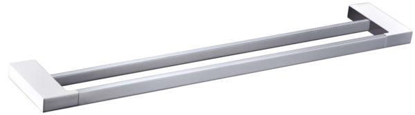 5602-800CW Elegancia Square Bathroom Double Towel Rail Holder 800mm Chrome & White