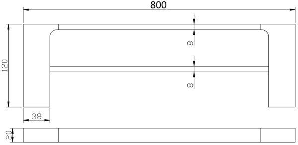 5602-800CW Elegancia Square Bathroom Double Towel Rail Holder 800mm Chrome & White-schematic