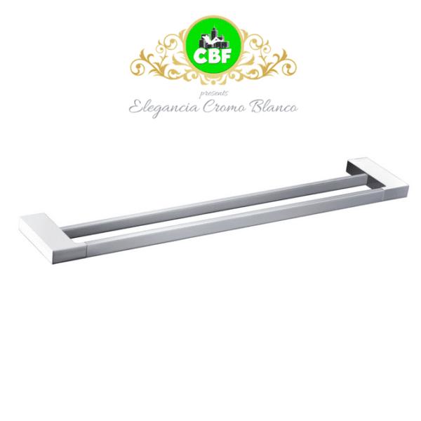 5602-800CW Elegancia Square Bathroom Double Towel Rail Holder 800mm Chrome & White-web ready