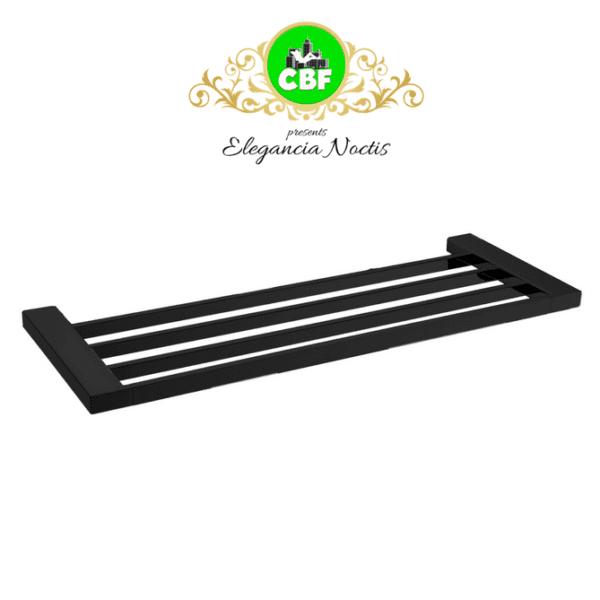 5603-600-B Elegancia Square Bathroom Towel Rack Shelf 600mm Matte Black-web ready