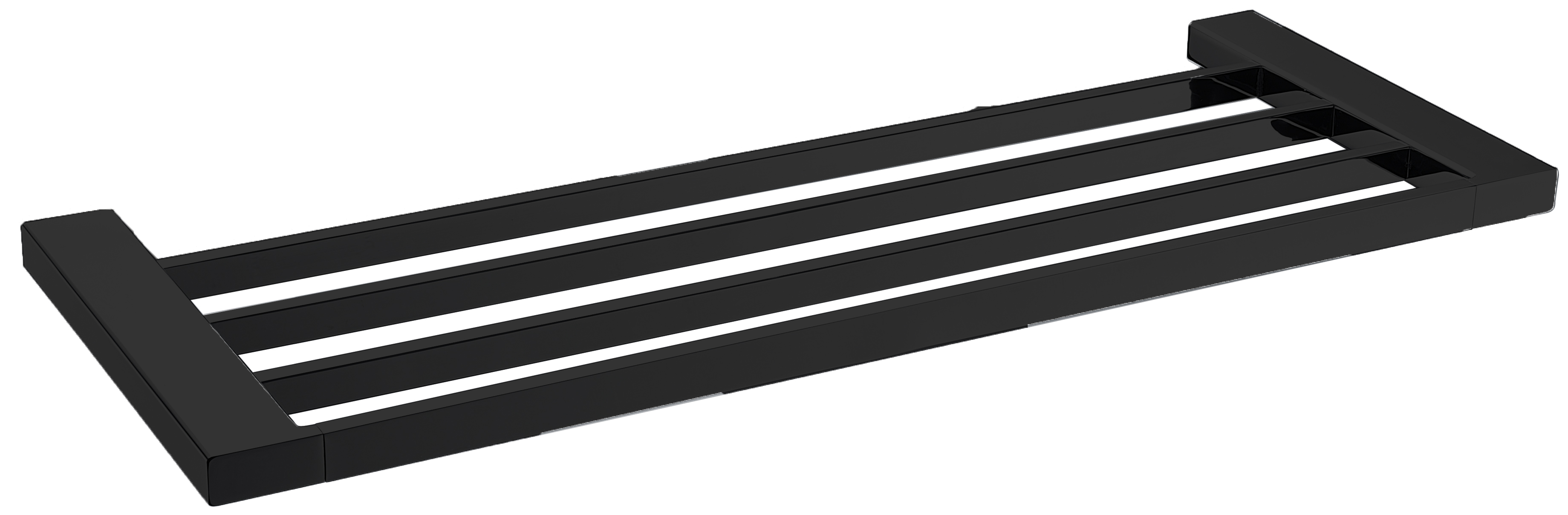 5603-600-B Elegancia Square Bathroom Towel Rack Shelf 600mm Matte Black
