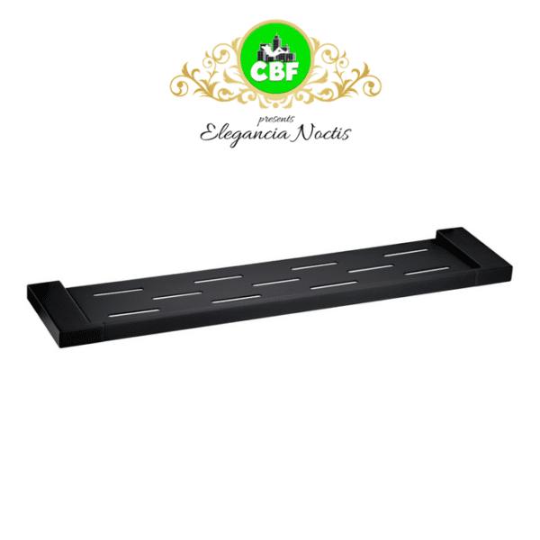 5609-1-B Elegancia Square Metal Bathroom Rack Shelf Holder 550mm Matte Black-web ready
