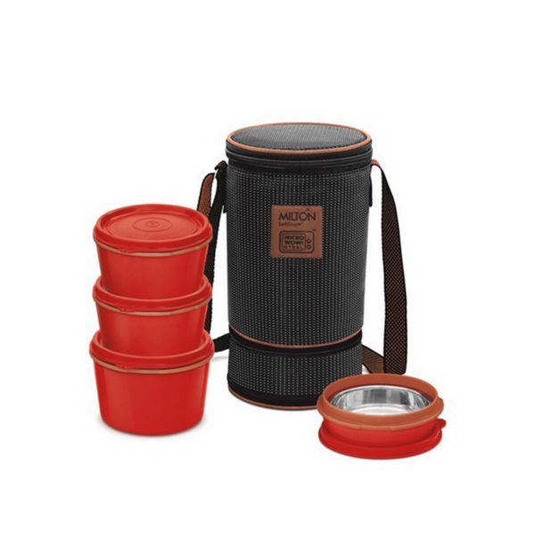 MFT31OR Milton 3+1 Flexi Tiffin Insulated Food Container & Carrier-red