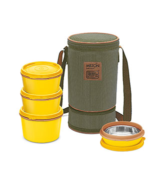 MFT31OR Milton 3+1 Flexi Tiffin Insulated Food Container & Carrier-yellow