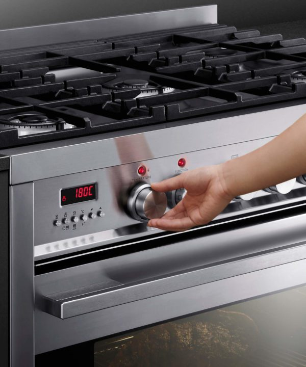 Fisher-Paykel OR90SDBGFPX1 Freestanding Cooker, 90cm, Dual Fuel, Pyrolytic-control panel