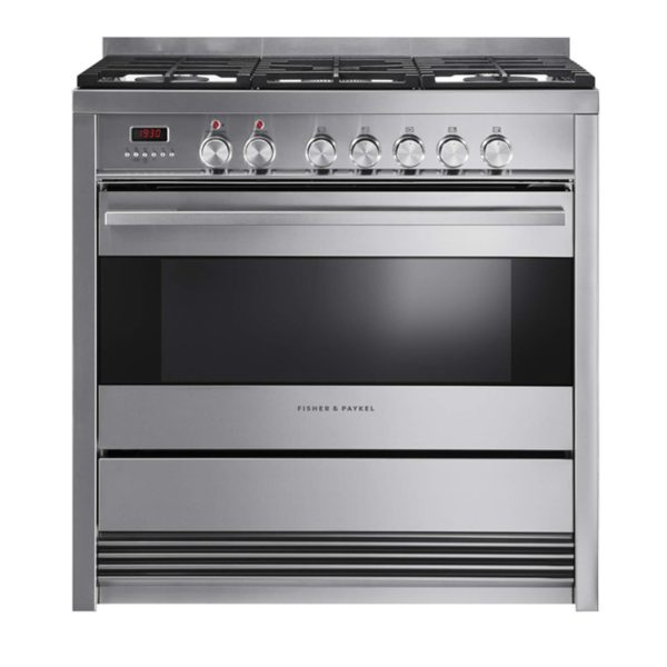 Fisher-Paykel OR90SDBGFPX1 Freestanding Cooker, 90cm, Dual Fuel, Pyrolytic-front view