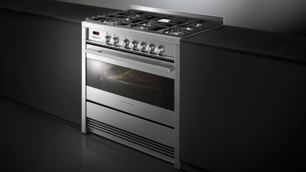 Fisher-Paykel OR90SDBGFPX1 Freestanding Cooker, 90cm, Dual Fuel, Pyrolytic-side view