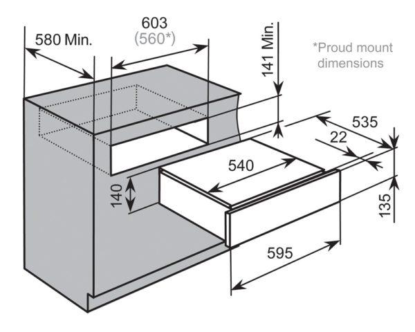 Baumatic BSWD14 Studio Solari 14cm Warming Drawer-schematic