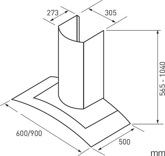 IAG IRGT9 90cm Deluxe Flat Canopy Rangehood (schematic)