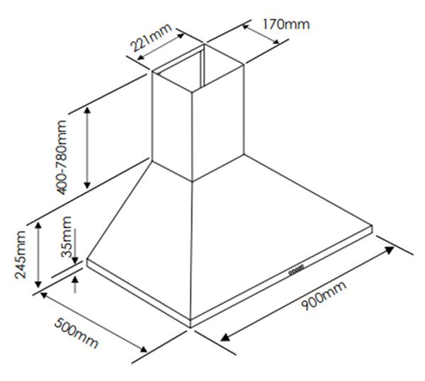 Euromaid CP9BLB 90cm Black Canopy Rangehood (schematic)