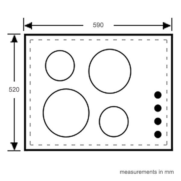 Electrolux EHI667BD 60cm Flexi Bridge induction cooktop (schematic)