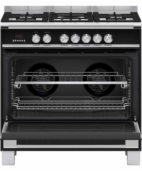 Fisher-Paykel OR90SCG4B1 Freestanding Cooker, 90cm, Dual Fuel OvenStove (door-open)