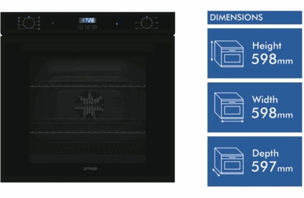 Omega OO60B 60cm Electric Oven Matt Black (dimension)