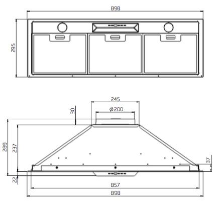 Schweigen UM1170-9ST 90cm Silent Undermount Rangehood-schematic