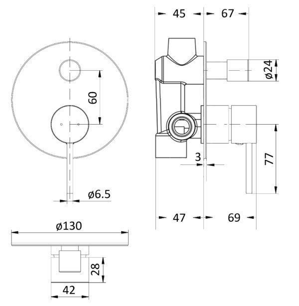 IKON HYB88-501BN – HALI Wall Mixer with Diverter – Brushed Nickel