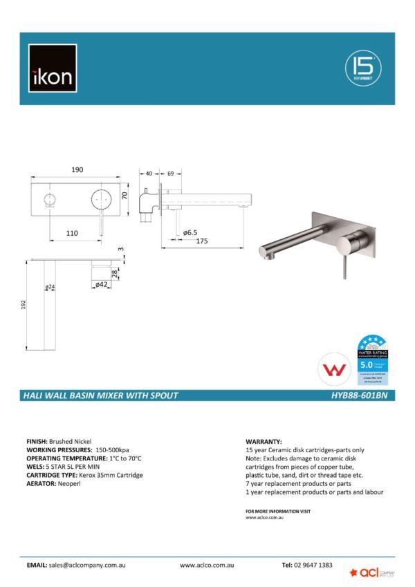 IKON HYB88-601BN, HALI Wall Basin Mixer with Spout – Brushed Nickel