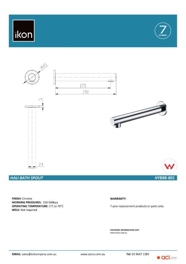 IKON HYB88-801 – HALI Wall Basin Mixer with Spout – Chrome