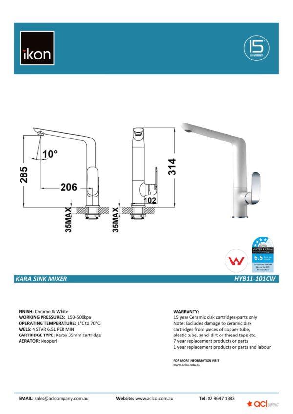 IKON HYB11-101CW KARA Sink Mixer- White & Chrome (details)