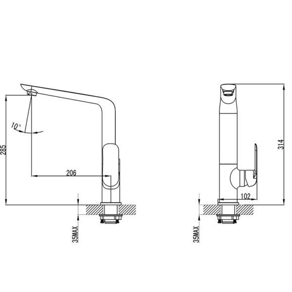 IKON HYB11-101CW KARA Sink Mixer- White & Chrome (schematic)
