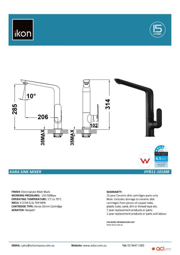 IKON HYB11-101MB KARA Sink Mixer – Matte Black (details)