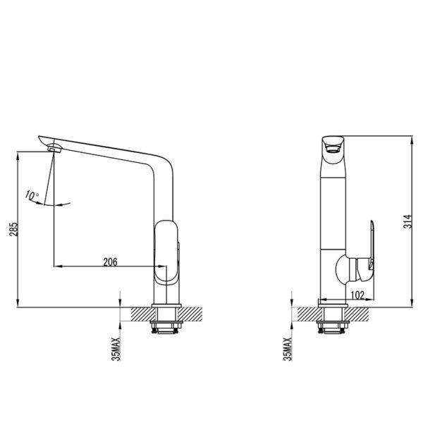 IKON HYB11-101MB KARA Sink Mixer – Matte Black (schematic)